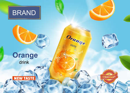 Soft drink banner ads with ice cubes. Orange beverage aluminium can and orange fruit on mountain background