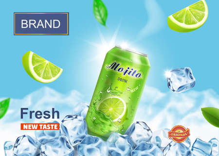 Lime juice drink advertising. Refreshing mojito ads aluminium can in ice cubes on snow mountains background. Vector mojito cocktail in ice cubes