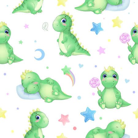 Vector seamless pattern with funny dinosaurs, stars and candy Sleeping, sitting cartoon watercolor cute baby dinosaur. For cards, invitations, wallpaper