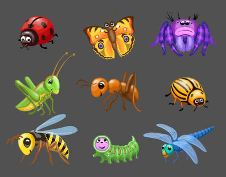Cartoon funny bugs. caterpillar and butterfly, cute ladybug, Green grasshopper, spider children bugs, Baby insect 向量圖像