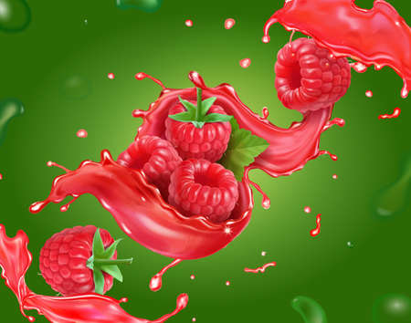 Raspberry juice and sweet berry fruit on green background. Fresh raspberry beverage splash Vector illustration