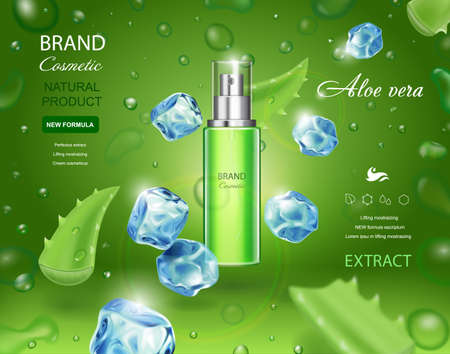 Aloe vera cosmetic spray bottle on green background with ice cubes, Toner, cream, gel, body lotion with moisturizing aloe vera