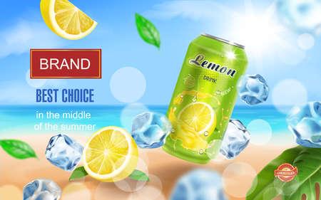 Lemon drink aluminium can with ice cubes on ocean beach. Lemon slice and tropical leaf. Realistic. Vector