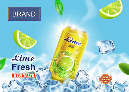 Lime drink in aluminium can with ice cubes and mountains on background. Vector advertising 版權商用圖片