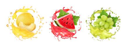 Fresh fruits juice set. Melon, watermelon and white grape realistic vector