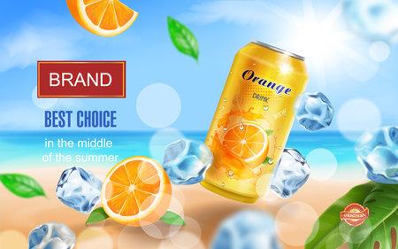 Soft drink orange ads witn orange drink aluminium can, ice cubes on tropical beach vector 向量圖像