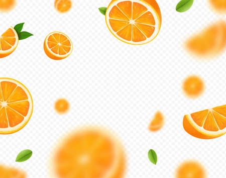 Orange fruits falling on transparent background. Blurred orange slices and green leaves for advertising. Vector realistic 向量圖像