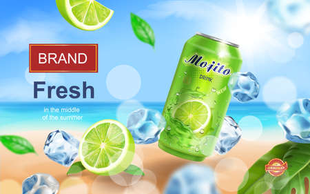 Mojito aluminium can ads with beverag with ice cubes on tropical beach, lime and mint elements in 3d illustration 向量圖像