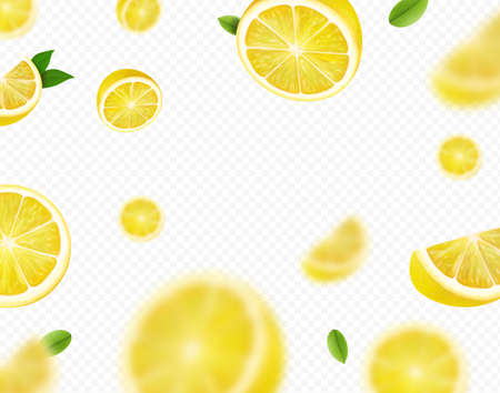 Fresh lemon fruit with green leaves. Falling lemon slices Motion blur on transparent background. Vector illustration
