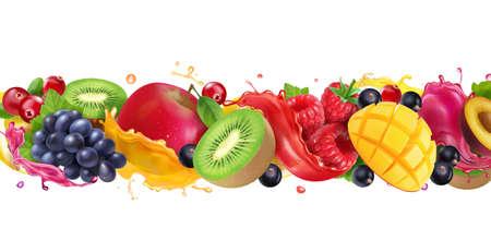 Multy fruit mix juice splash. Splashing of sweet tropical fruits and berries. Realistic vector icon