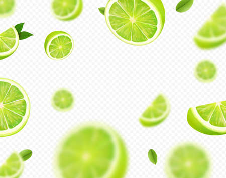 Falling lime fruit. Green slices of realistic lime