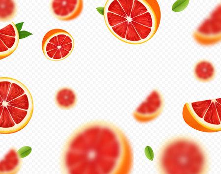 Ripe juicy tropical grapefruit falling