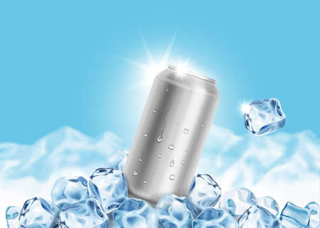 Aluminum Tin Can with ice cubes