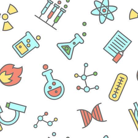 Chemistry pattern laboratory flasks icons.