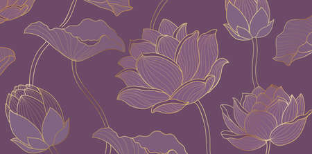 Lotus leaves line arts design 向量圖像