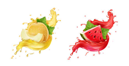 Melon in yellow juice splash, watermelon in red splash realistic icon