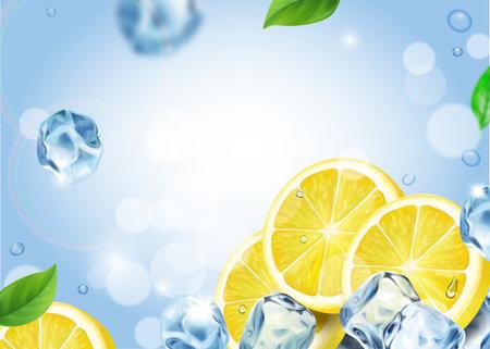 Lemon fruit with ice cubes. Falling lemon slices