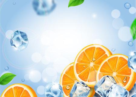 Fresh oranges fruits with ice cubes. Realistic falling orange slices