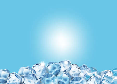 Abstract ice cubes. Frozen realistic water cube shape 向量圖像