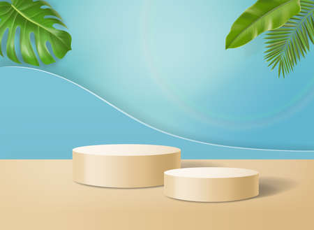 Abstract minimal scene with cylinder podium with tropical leaves.