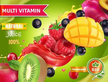 Mix fruits and berries juice advertising.
