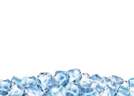 Ice cubes Water freeze realistic icy pieces
