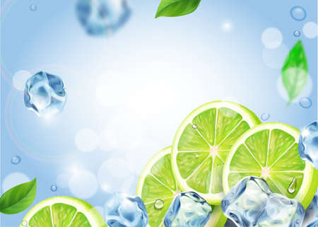 Fresh Mojito cocktail ads with lime slice and ice falling 版權商用圖片