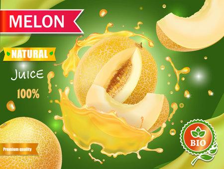 Melon juice advertising Honeydew melon, whole and slice in juice splash 向量圖像