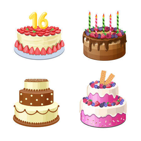Chocolate cakes set, Sweet pink glaze cake with candels. Tasty cream pies for birthday icon illustration 向量圖像