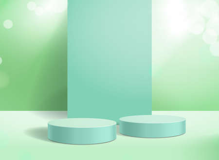 Abstract 3d background podium and green shiny display. Stand to show cosmetic product for presentation, mock up vector