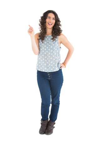 Happy beautiful brunette posing on white background Stock Photo - 21764742