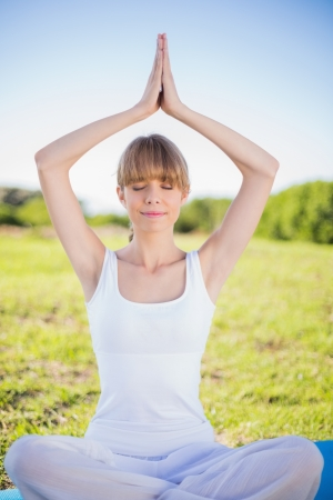 Peaceful young woman relaxing doing yoga outside in a sunny field photo