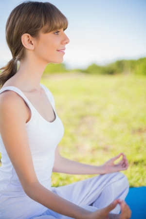 Smiling young woman meditating in lotus position outside in a sunny meadow photo