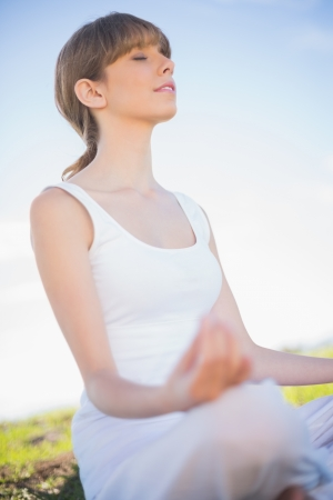 Peaceful young woman relaxing in yoga position outside in a sunny meadow photo