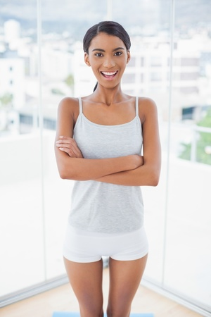Attractive model in sportswear posing in bright room at home Stock Photo - 21770763