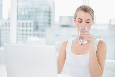 Pretty blonde in bright room drinking water using her laptop photo
