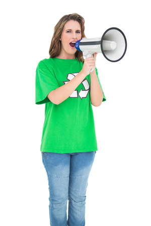 Environmental activist screaming in a megaphone on white background photo