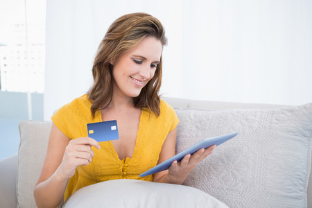 Smiling woman looking at her tablet screen holding credit card Stock Photo - 22324495