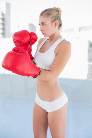 Concentrated young blonde model in white sportswear exercising with boxing gloves photo