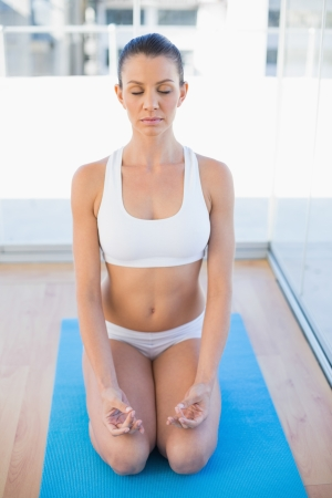 Relaxed young woman meditating in bright fitness studio Stock Photo - 22327889