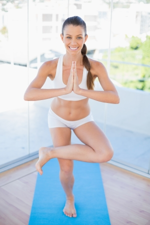 Smiling fit woman practising yoga in bright fitness studio Stock Photo - 22341314