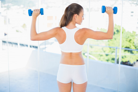 Woman standing back to camera lifting dumbbells in bright fitness studio photo