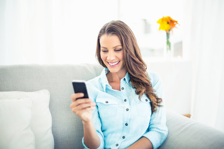 Cheerful model sitting on cosy couch in bright living room text messaging photo