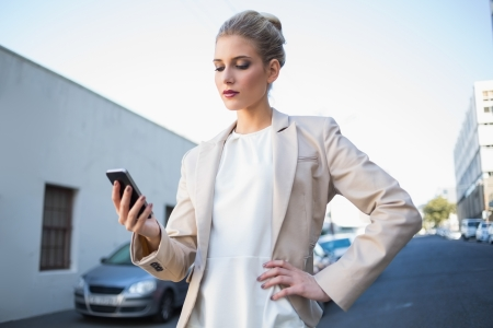 Serious elegant businesswoman looking at her smartphone outdoors on urban background Stock Photo - 22302178