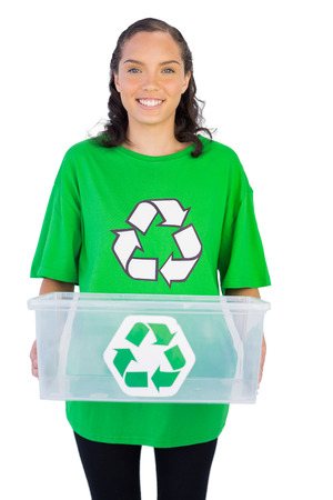 activist: Enivromental activist holding box of recyclables against white background