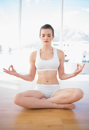 Peaceful fit brown haired model in sportswear meditating in lotus position in bright fitness studio photo