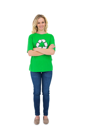 activist: Cheerful blonde environmental activist posing on white  Stock Photo