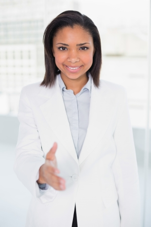 Pretty young dark haired businesswoman presenting herself in bright office Stock Photo - 25452434