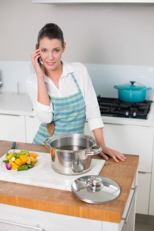 Smiling pretty woman wearing apron having a call in bright kitchen photo