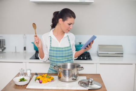 Focused gorgeous woman wearing apron using tablet while cooking in bright kitchen photo
